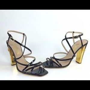 CHANNEL strappy sandal with gold on heel